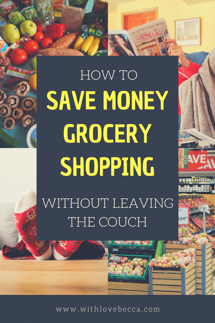 Save money on groceries without leaving the couch. For real! Learn how to get your grocery shopping done in less time and spend less money doing it.