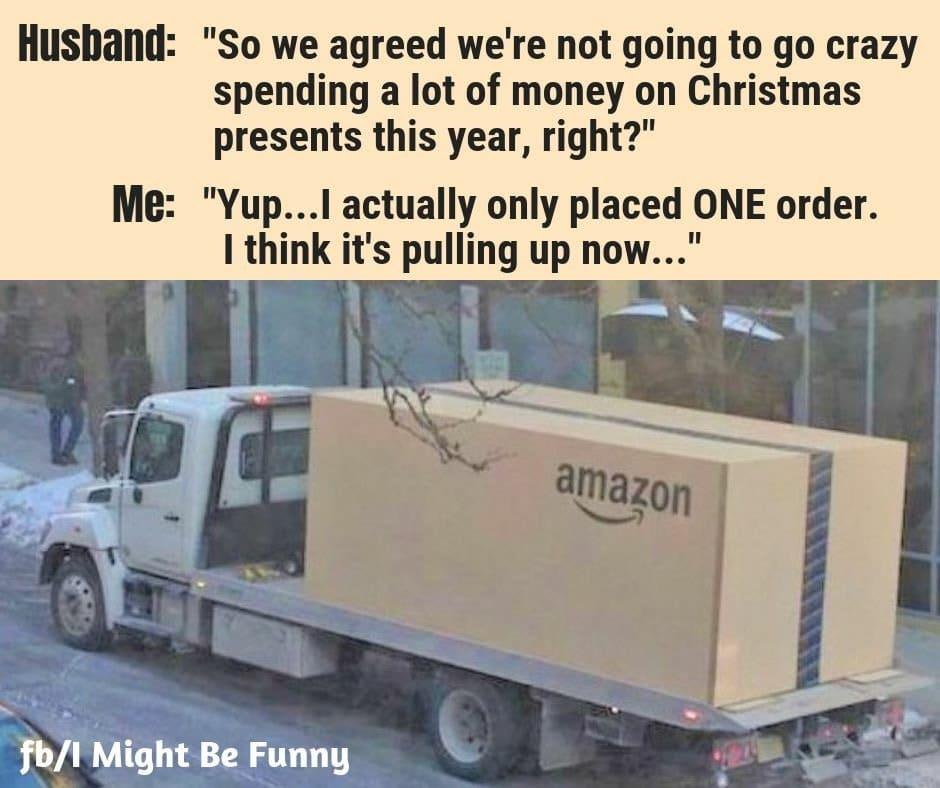 Flatbed truck with Amazon box meme