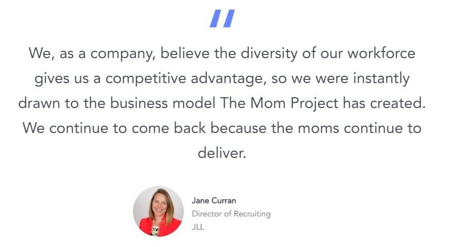 Quote about The Mom Project. 10 websites moms returning to work need to know.
