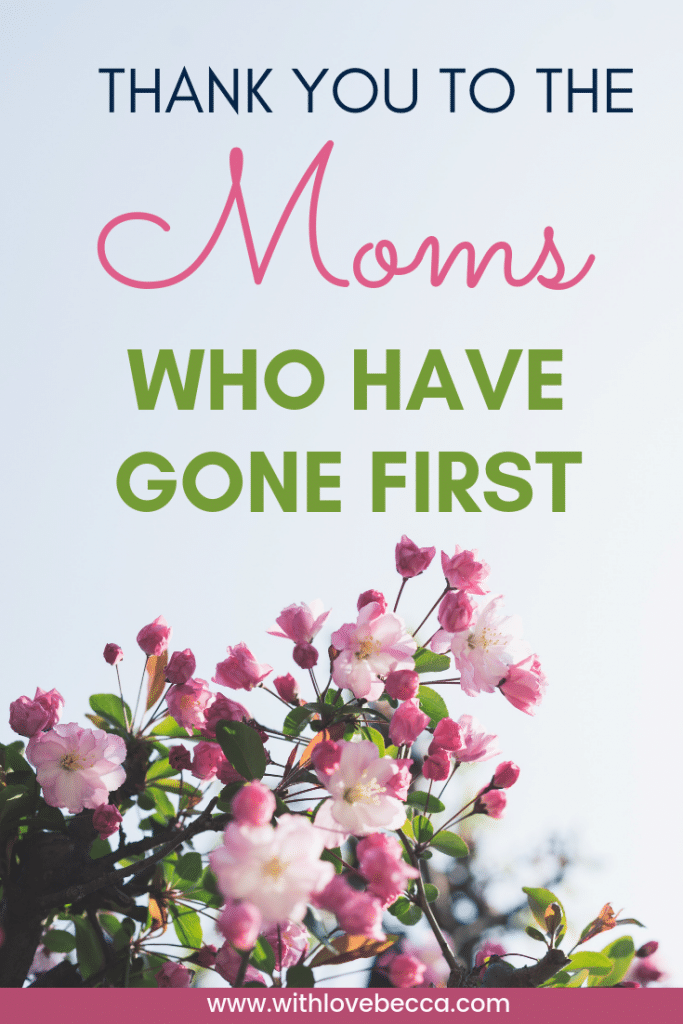 Thank you to the moms who have gone first