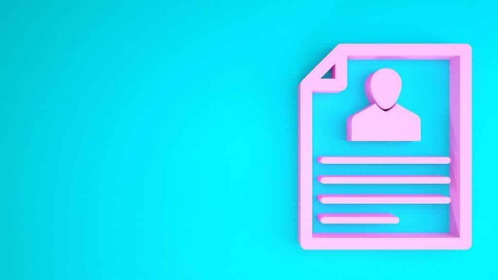 pink resume outline on blue background