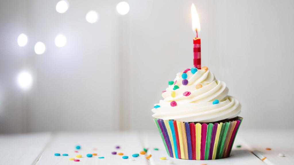 Birthday cupcake with rainbow wrapper