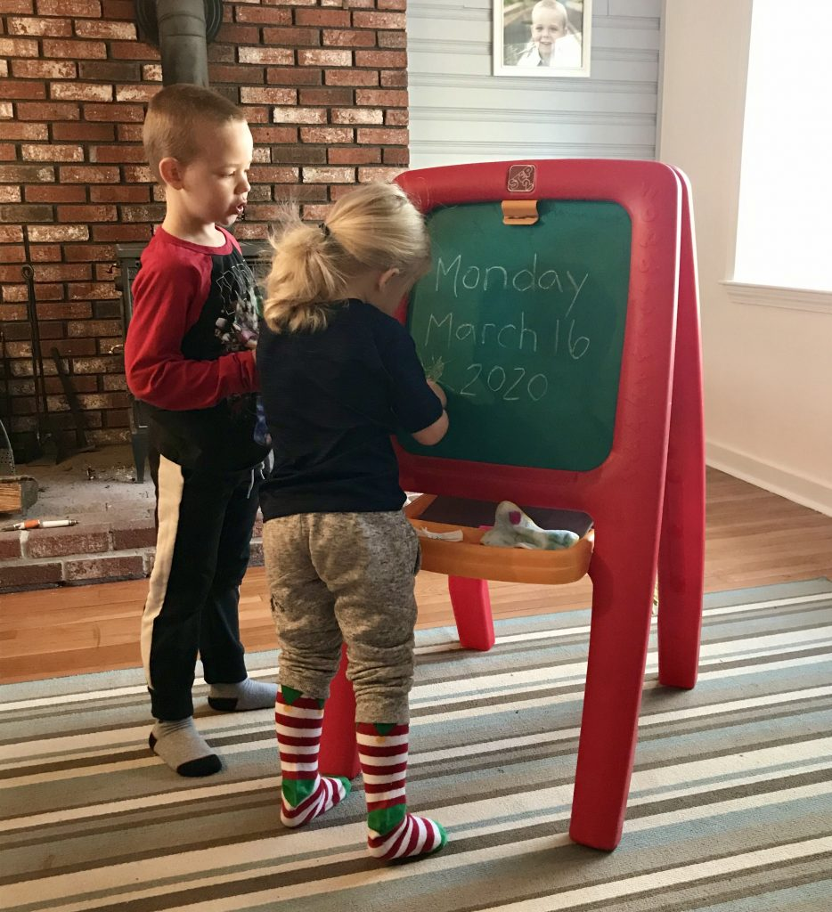 working from home with kids - morning meeting