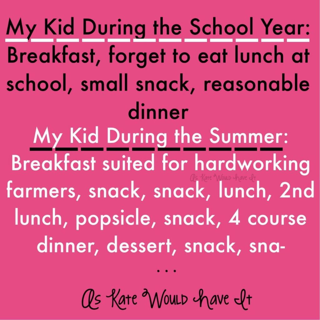 My Kid During the School Year: Breakfast, forget to eat lunch at school, small snack, reasonable dinner My Kid During the Summer: Breakfast suited for hardworking farmers, snack, snack, lunch, 2nd lunch, popsicle, snack, 4 course dinner, dessert, snack, sna- Summer memes for parents