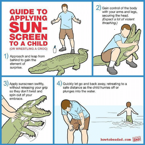 Guide to applying sunscreen to a child or wrestling a croc summer meme for parents