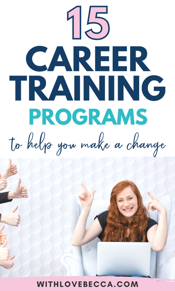15 career training programs to help you make a change - woman with red hair at lap top smiling. thumbs up on the left side.