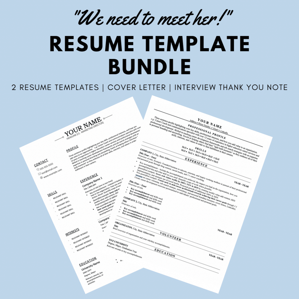 """""""We need to meet her!"""" Resume Template Bundle - 2 resume templates, cover letter, interview thank you note. Picture of two resume templates on light blue background."""