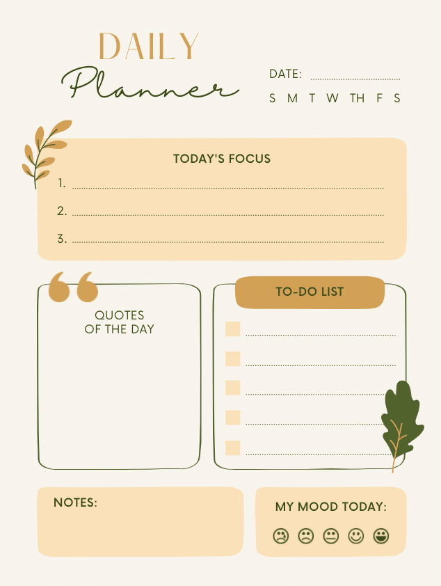 Daily Planner - printable planner sheet from Canva
