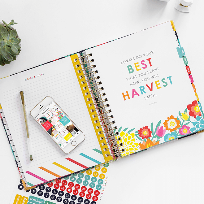 Best Planners for Working Moms - Living Well planner with colorful stickers